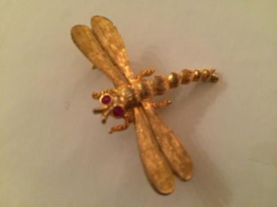 Schiaparelli Signed Brooch - Lovely, Vintage, Gold Tone Rhinestone Dragonfly