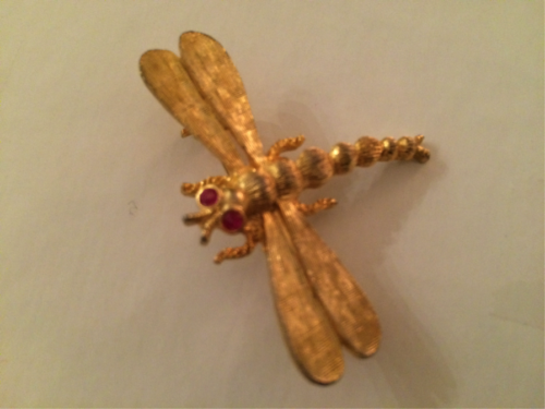 Schiaparelli Signed Brooch - Lovely, Vintage, Gold Tone Rhinestone Dragonfly