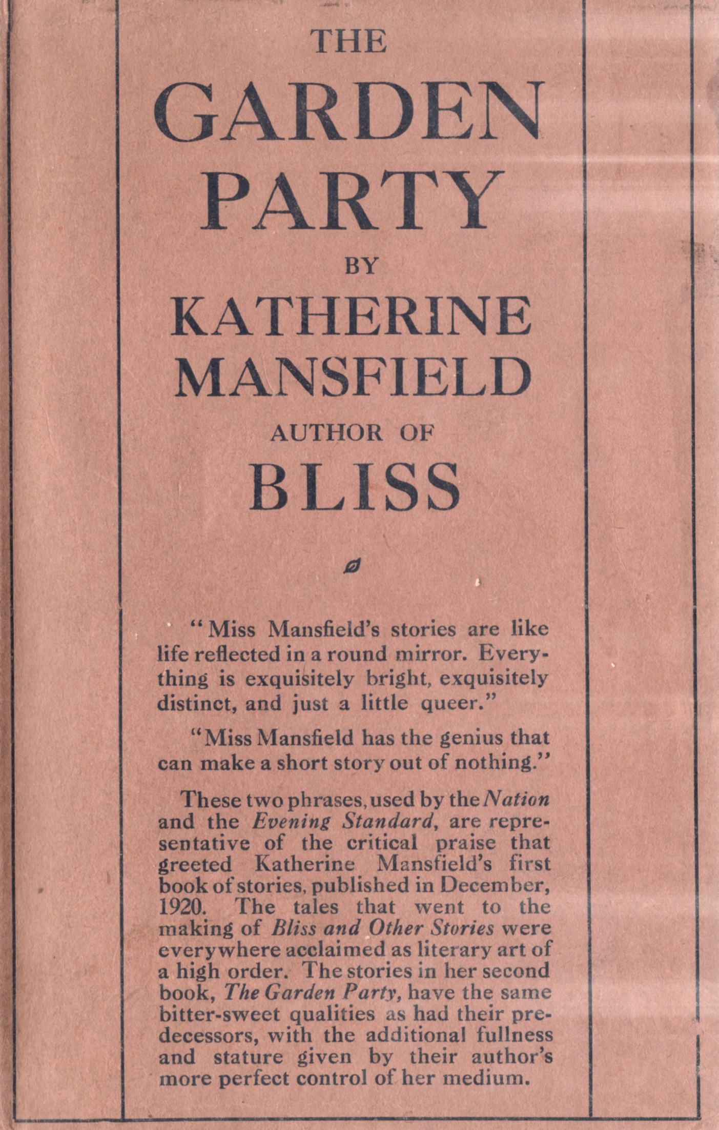 bliss katherine mansfield An introduction to bliss by katherine mansfield learn about the book and the historical context in which it was written.